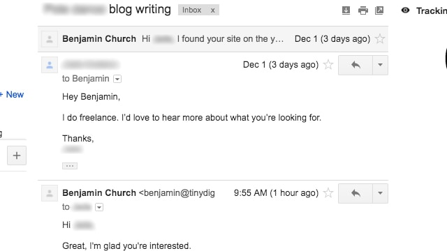 Outreach email to freelance writer